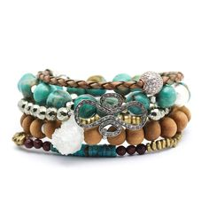 Boho Bracelet Set / As Seen In CONDE NAST Traveller / Diamond, Turquoise, Druzy, CZ Pave, Sandalwood, Pyrite, Bohemian Stacking Bracelet Set    **FEATURED