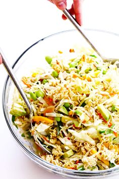 This updated Crunchy Asian Ramen Noodle Salad recipe is quick and easy to make, super delicious, and it's always the hit of a potluck!