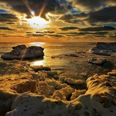 The icy shores on top of Lake Michigan. #PureMichigan #Michigan #LakeMichigan