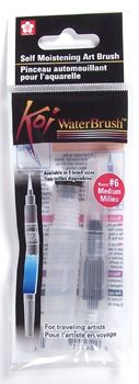 Koi Water Brush. The portable and collapsible Koi Water brushes are the unique tool that puts a water reservoir at your fingertips.  The self contained water reservoir inside the handle delivers water conveniently and directly to the brush tip.  The fine flexible nylon tip provides excellent watercolor dilution and can produce fine lines or bold broad strokes.  The lightweight transparent barrel signals when ...