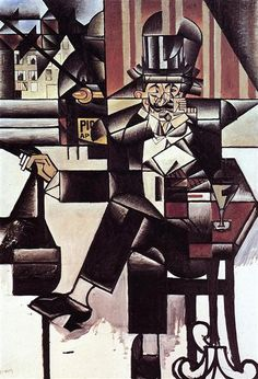 """Today we wish a happy birthday to Spanish artist Juan Gris. Gris is best known for his Cubist sculptures and paintings. """"Man in a Café,"""" by Juan Gris. Philadelphia Museum of Art Georges Braque, Henri Matisse, Pablo Picasso, Spanish Painters, Spanish Artists, Synthetic Cubism, Modern Art, Contemporary Art, Art History"""