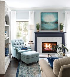 Shades of blue and various textures mingle in the living room.