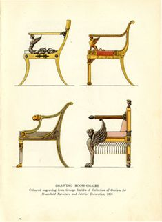 """Drawing Room Chairs""  from A Collection of Designs for Household Furniture and Interior Decoration (1808)"