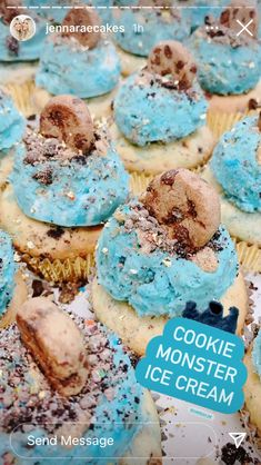 Cookie Monster Ice Cream, Ice Cream Cupcakes, Sweets, Cookies, Crack Crackers, Gummi Candy, Candy, Biscuits, Goodies
