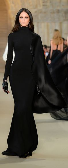 Designer fashion | Stephane Rolland chic black dress with leather gloves