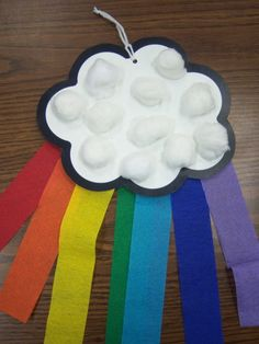 Make a rainbow! Good craft for working on cutting skills. Also consider having the kids pull apart the cotton balls first (using those pincers!) for a little more fine motor focus.