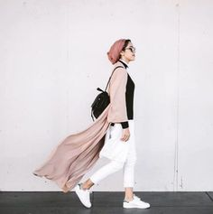 blush pink long cardigan hijab outfit