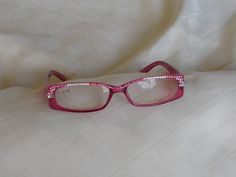 Swarovski Crystal Reading Glasses, 1.75 Lens, Pink Frame, Pink on Pink Arms. Rose and Clear Crystals, Clear Crystal Wingbacks by jamaartbeads. Explore more products on http://jamaartbeads.etsy.com