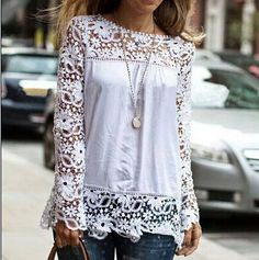Image of Hollow out lace chiffon long-sleeved shirt PO1017CF