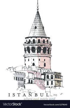 Galata Tower Drawing vector image on VectorStock Free Vector Images, Vector Art, Art Sketches, Art Drawings, Libros Pop-up, Architecture Concept Drawings, Cute Animal Drawings Kawaii, Flamingo Art, Floral Logo