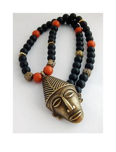 African Mask Necklace Afrocentric Men Jewelry Black Ethnic Brass Orange Black by TheBlackerTheBerry