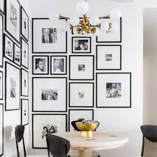 Black And White Hallway, Black And White Theme, Hanging Family Pictures, Galley Wall, Black Photo Frames, Kitchen Ornaments, Dining Room Walls, Living Room, Wall Treatments