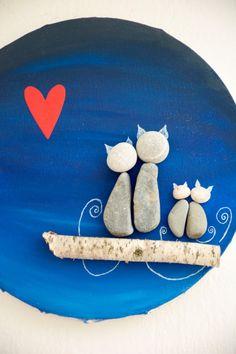 Kiesel-Kunst: Familie der Katzen / / schönes von JUPSbyRenata                                                                                                                                                                                 Mehr