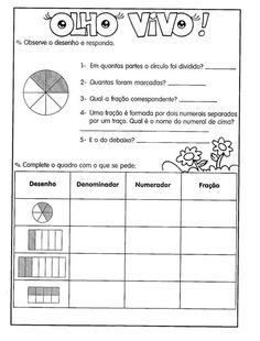 Blog Professor Zezinho : Atividades sobre frações para 5° ano Professor, Classroom, Teaching, How To Plan, Math, School, Blog, Irene, Map Activities