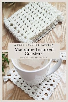 Add a little boho flair to you home decor. The crochet pattern for these faux macrame coasters is beginner friendly, perfect for easy spring decor or a quick hostess gift. Scrap Yarn Crochet, Crochet Doilies, Quick Crochet, Free Crochet, Crochet Coaster Pattern, Knitted Pouf, Style Boho, Crochet Home Decor, Crochet Kitchen