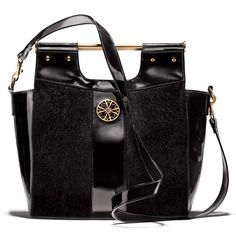 """<i>Our iconic 4A Heritage Logo symbolizes 50 years of customer service excellence.</i><br><br>Large patent-leatherlike top-handle tote with faux pony-fur accent and goldtone hardware. Removable shoulder strap lets you wear as a tote or a crossbody. 13 1/4"""" H x 11 1/2"""" W x 3"""" D. Handle drop, 2"""". Shoulder strap drop, 19"""". Signature print lining. $45"""