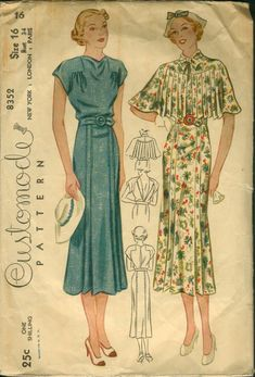 Fashion illustrations, mostly from Simplicity and Butterick dressmaking patterns, from the 1930s….