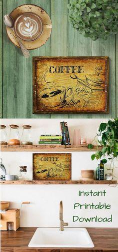 Coffee Digital Wall Art, , Coffee Cup Print, Coffee Grinder, Kitchen Coffee Cup and Grinder, Kitchen Decor, Instant Download Printable