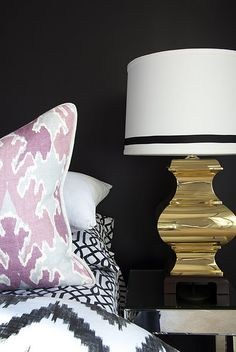 bengal bazaar magenta pillow, black walls, b&w bedding, gold lamp // Dayka Robinson Designs