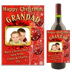 Personalised Wine Champagne Label Gift Best Grandad In The World Photo Xmas Dad