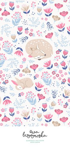 Sleep Well My Deer - cute pattern design with deer and bunny sleeping on the meadow. flowers, floral, deer, bunny, textile, pattern, illustration, children, kids, cute, repeat, license, spoonflower, pattern design, children textile, bedding,