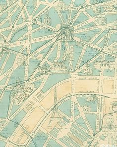 """This unique fabric from Moda features a detailed map of the city of Paris  - showing off all of the magical landmarks that make Paris so special! Eiffel Tower is about 2"""", pattern runs the length of the fabric, from the 'Paris Flea Market' by 3 Sisters."""