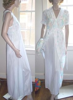 Paramount New York 2 Piece Robe Nightgown Lingerie M Empire Peignoir Negligee #Paramount #RobeGownSets