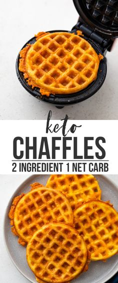 Learn how to make the perfect chaffles (cheese waffles) at just 1 net carb each with just 2 ingredients in under 10 minutes! These keto chaffles make the Low Carb Bread, Keto Bread, Low Carb Keto, Low Carb Recipes, Diet Recipes, Vitamix Recipes, Soup Recipes, Waffle Maker Recipes, Dessert