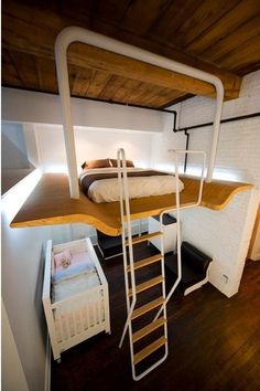 Nice for an apartment and nice to have space on either side of the bed.  Lofty Aspirations: Fifteen Lovely Loft Beds