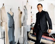 Fashion designer Gilles Mendel in his atelier