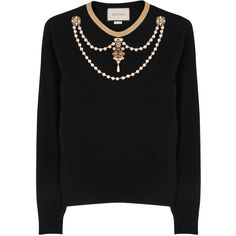 Gucci Black embellished wool jumper (£965) ❤ liked on Polyvore featuring tops, sweaters, gucci tops, wool tops, woolen jumper, woolen sweater and jumpers sweaters