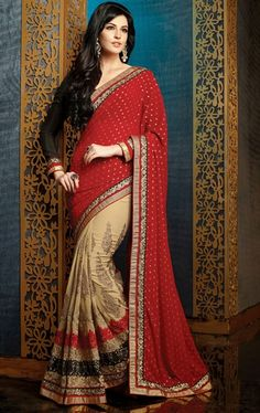 Picture of Luscious Beige and Red Color Wedding Saree