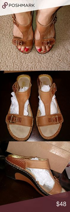 "Algeria by PG Lite Woman's Leather Mules Genuine leather uppers and lining,model is LAR -713,. size 37 Some wear but great condition, vel-closures 2.5"" heel. Gold stitching, golden buckles for decoration,  COMES FROM SMOKE FREE CAT FRIENDLY HOME Alegria Shoes Mules & Clogs"