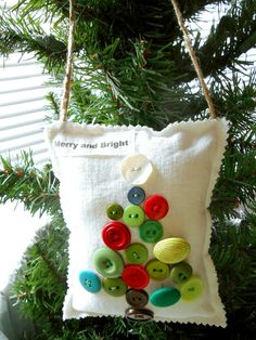 Christmas Ornament, Handmade Merry and Bright Door Hanger, Tree Pillow, Fabric Ornament, Button Christmas Tree, Stuffed Ornament, Tree Decor on Etsy, $10.72 CAD
