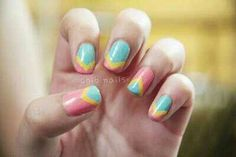 J aime les ongles tricolor