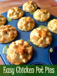 Delicious little pies with crisp pastry. Freezer friendly and great for parties too! I think everyone must have tried a pot pie at some Easy Chicken Pot Pie, Cream Of Chicken Soup, How To Cook Chicken, Chicken Recipes, Chicken Treats, Cooked Chicken, Shortcrust Pastry, Partys, Mini Foods
