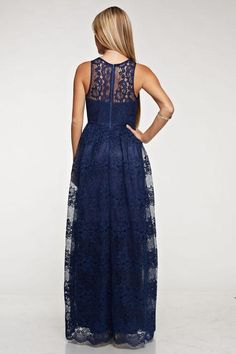 Affordable Floor Lace Length Bridesmaid Dress Navy and Blush