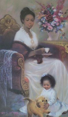 ~J This picture captures quiet tea time perfectly !African American woman drinking tea, pictured with child playing. Seldom pictured in print during this era, this is a rare find indeed! African History, African Art, African American Artwork, Black Art Pictures, Black Love Art, Black Artwork, Portraits, Tea Art, Classical Art