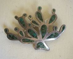 Vintage TAXCO MEXICO Sterling Silver & TURQUOISE Chip Inlay PIN Brooch CACTUS