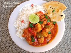 Jalfrezi is one of the most popular chicken curry dishes. It is a delicious dish that incorporates capsicum/bell peppers with onions, tomatoes and boneless chicken cubes in a spicy and aromatic gravy.  Normally the dish goes best with plain basmati rice and/or naan bread.