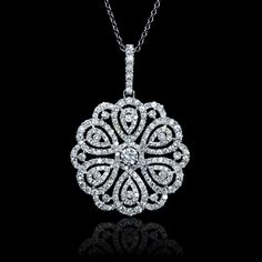 This amazing white gold flower pendant, features 211 round brilliant cut white diamonds of F color, clarity, and of excellent cut and brilliance, weighing carats total. This charming pendant naturally draws admiring looks. Diamond Solitaire Necklace, Diamond Pendant Necklace, Diamond Necklaces, Gold Necklaces, Diamond Rings, Diamond Jewelry, Flower Pendant, Pendant Set, Gold Pendant