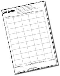 color squares game -- math first day of school activity