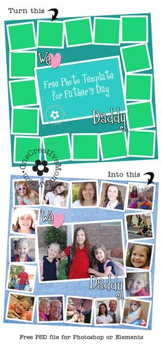 Free Photo Template for Fathers Day from OneCreativeMommy.com {Just add your own pics, and youre ready to go!}