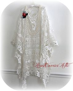 White Crochet  Wedding Bridal Shawl from Vintage  Shabby Boho Gypsy. $175.00, via Etsy.