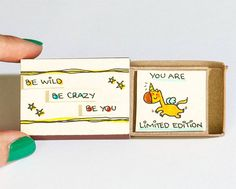 """Cute Unicorn Card /Friendship Card /Inspirational Card/ Encouragement Card """"You are Limited Edition"""" Matchbox /Be Wild Be Crazy Be Matchbox Crafts, Matchbox Art, Love Cards, Diy Cards, Diy Birthday, Birthday Cards, Little Box, Cadeau Surprise, Cute Messages"""