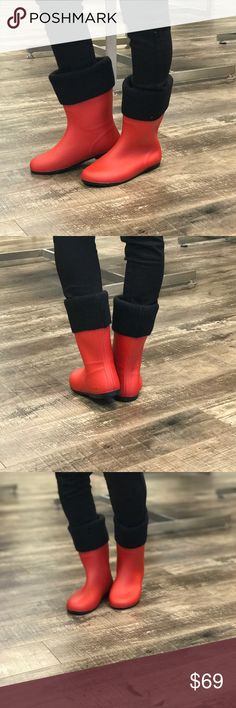 Red & Black Winter Boots Ahh these are sooo beautiful! These can double as rain and snow boots! They are waterproof. The top part does come off, so you can monogram the collar or you can just wear without it. They're so perfect for fall and winter! These run about a half size small and only come in full sizes. No trades. Kyoot Klothing Shoes Winter & Rain Boots
