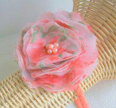 Flower Headband Peach by needleworx on Etsy