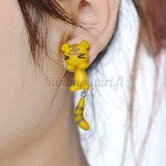 2017 New Handmade Polymer Clay Animal Earrings Cute Tiger Stud Earrings for Women Jewelry Cheap Earrings, How To Make Earrings, Women's Earrings, Cute Tigers, Animal Earrings, Polymer Clay Animals, Yellow Cat, Handmade Polymer Clay, Earrings Handmade