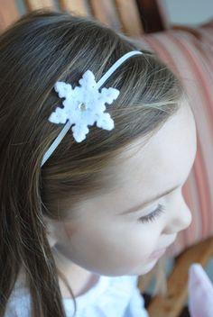 Felt Snowflake Headband or Hair Clip by FennysFrillies on Etsy, $2.70