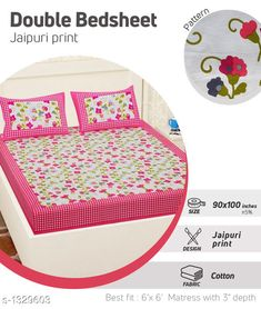 Bedsheets Comfy Pure Cotton Double Bedsheet Fabric: Bedsheet - Cotton   Pillow Covers - Cotton  Dimension: ( L X W ) - Bedsheet - 100 in  X 90 in Pillow Cover - 27 in x 17 in Description: It Has 1 Piece Of Double Bedsheet With 2 Pieces Of Pillow Covers Work: Printed Work Thread Count: 160 Country of Origin: India Sizes Available: Free Size   Catalog Rating: ★4 (403)  Catalog Name: Supreme Home Comfy Pure Cotton Double Bedsheets CatalogID_170538 C53-SC1101 Code: 883-1329603-069